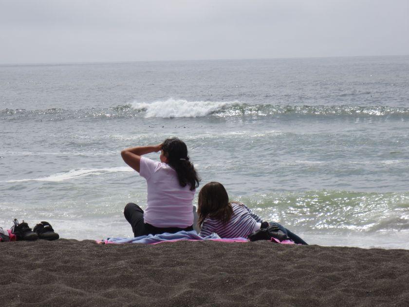Girls looking at ocean