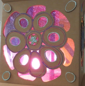"""Detail of a lamp I created for a festival called """"Blooming Boxes"""" at Westmoor High School"""